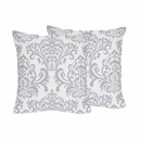 Skylar Gray and White Damask Accent Throw Pillows