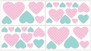 Skylar Pink and Turquoise Heart Wall Decals