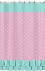 Skylar Pink and Turquoise Ruffle Shower Curtain