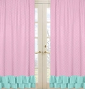 Skylar Pink and Turquoise Ruffle Window Panel Curtains
