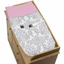 Skylar Pink, Turquoise and Gray Damask Changing Pad Cover