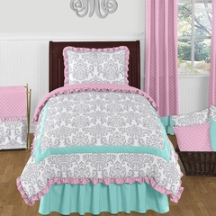 Skylar Girl's Pink, Turquoise and Gray Ruffle Twin - 4 Pc Bedding Set
