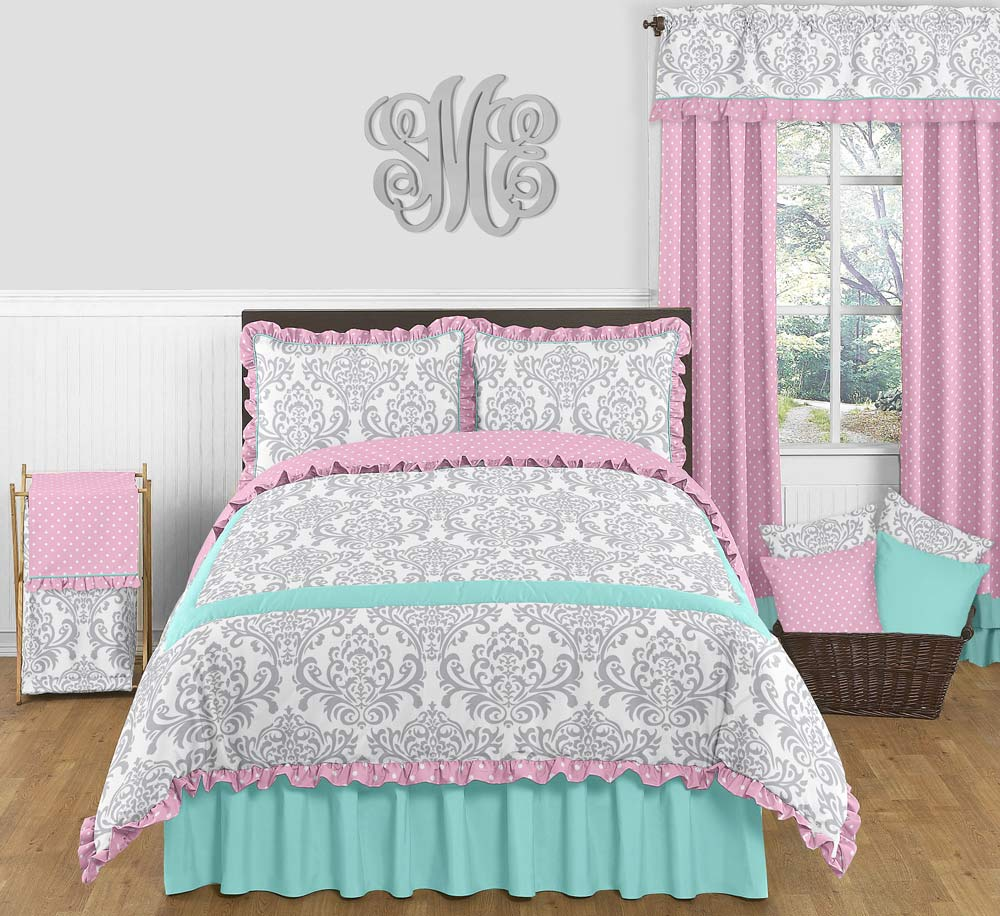 Girl s pink turquoise amp gray ruffle full queen 3 pc bedding set