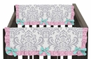 Skylar Turquoise and Pink Side Crib Rail Guard Covers