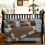 Soho Blue and Chocolate Brown Modern Baby Bedding - 9 Piece Crib Set