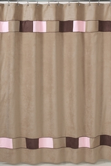 Soho Pink and Brown Modern Bathroom Shower Curtain