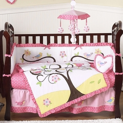Song Bird Tree Baby Bedding - 9 Pc Crib Bedding Set