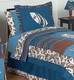 Surf Board Blue and Brown Tropical Hawaiian Bedding - Twin 4 Piece Set