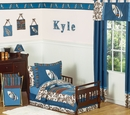 Surf Board Blue and Brown Tropical Hawaiian Toddler Bedding Set