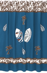 Surf Board Blue Tropical Hawaiian Collection Shower Curtain