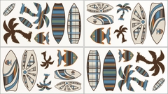 Surf Board Blue Tropical Hawaiian Wall Decals by Sweet Jojo Designs
