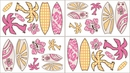 Surf Board Pink and Orange Tropical Hawaiian Wall Decals