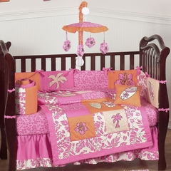 Surf Board Pink Tropical Hawaiian Baby Bedding - 9 Piece Crib Set
