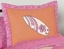 Surf Board Pink Tropical Hawaiian Pillow Sham by Sweet Jojo Designs