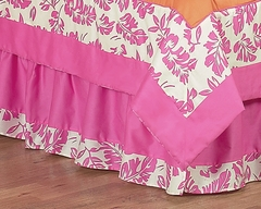 Surf Board Pink Tropical Hawaiian Queen Bed Skirt - Sweet Jojo Designs
