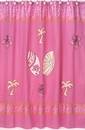 Surf Board Pink Tropical Hawaiian Shower Curtain by Sweet Jojo Designs