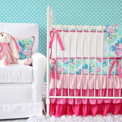 Tiny Bouquet Pink and Turquoise Floral Baby Bedding - Caden Lane
