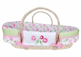Tulip Pink and Green Moses Basket Set