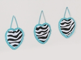 Turquoise Blue Zebra 3 Piece Wall Hangings By Sweet Jojo Designs