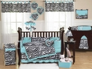 Turquoise Blue Zebra Baby Bedding - 9 Piece Crib Set