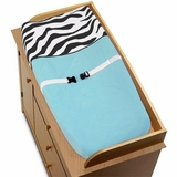 Turquoise Blue Zebra Changing Pad Cover By Sweet Jojo Designs