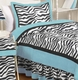 Turquoise Blue Zebra Kids Bedding - 3 Piece Full/Queen Set
