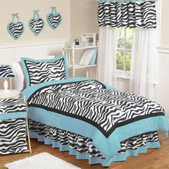 Turquoise Blue Zebra Kids Bedding - 4 Piece Twin Set