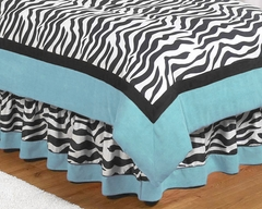 Turquoise Blue Zebra Kids Bedding Queen Bed Skirt