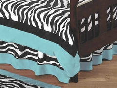 Turquoise Blue Zebra Toddler Bed Skirt by Sweet Jojo Designs