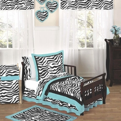 Turquoise Blue Zebra Toddler Bedding Set