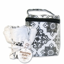 Versailles Black and White Bottle Bag & Bib Set