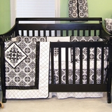 Versailles Black and White Damask Baby Bedding - 3 Piece Crib Set