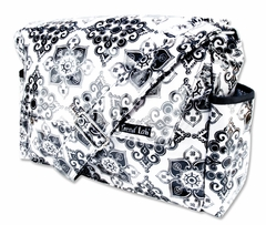 Versailles Black and White Damask Messenger Diaper Bag