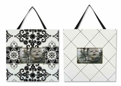 Versailles Black & White Damask 2 Piece Baby Picture Frame Set