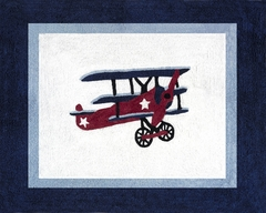 Vintage Aviator Airplane Accent Floor Rug by Sweet Jojo Designs