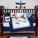 Vintage Aviator Airplane Baby Bedding - 9 Piece Crib Set