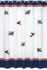 Vintage Aviator Airplane Bathroom Shower Curtain
