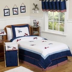 Vintage Aviator Airplane - Kids Bedding 4 Piece Twin Set