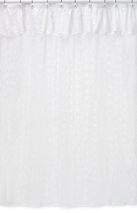 White Eyelet Bathroom Shower Curtain