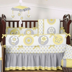 Yellow and Gray Flower Baby Bedding 9 Pc Crib Set by Sweet Jojo Designs