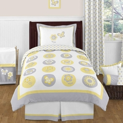 Yellow and Gray Flower Bedding 4 Pc Twin Set by Sweet Jojo Designs