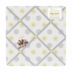Yellow and Gray Mod Garden Flower Fabric Memo Board