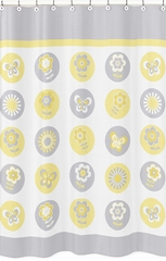 Yellow and Gray Mod Garden Flower Shower Curtain