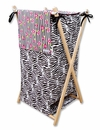 Zahara Black, White & Pink Zebra Print Hamper Set by Trend Lab