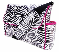 Zahara Black, White & Pink Zebra Print Messenger Diaper Bag