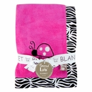 Zebra Print and Ladybug Baby Girl Receiving Blanket
