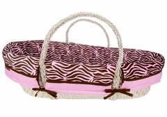 Zebra Print Pink and Brown Moses Basket Set