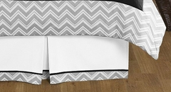 Zig Zag Chevron Black and Gray Queen Bed Skirt by Sweet Jojo Designs