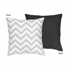 Zig Zag Chevron Black, White and Gray Decorative Accent Throw Pillow
