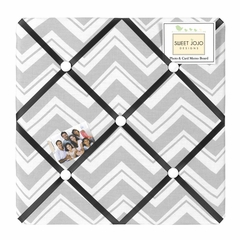 Zig Zag Chevron Black, White and Gray Fabric Memo Board